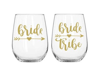 Bridal Tribe Decal, Bride Decal, Bridesmaid Decal, Wine Glass Decals