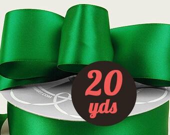 """Satin Emerald Green Ribbon - 7/8"""" wide at 20 yards"""