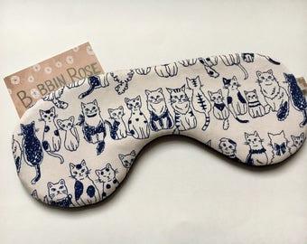 Sleep mask / happy cats travel sleep mask / lucky cat/ eye mask / night mask cute happy cat fabric