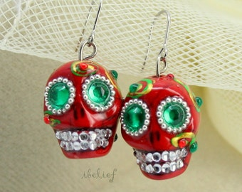 Skull in a-day is the day of the dead red skulls earrings stone ES0062