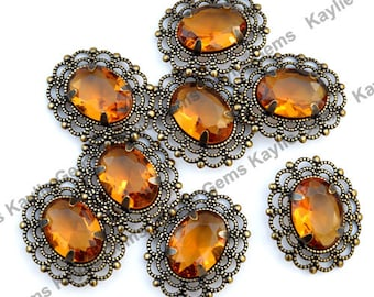 Amber 13x18 Oval Glass Jewel Vintage Looking Antique Brass Filigree Pendant 2 pieces
