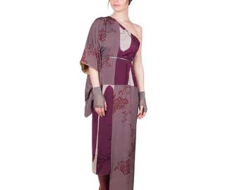 Kimono asymmetrical dress, dress evening wear, silk, transformed kimono, Kimono traditional 2 in 1, fancy dress, dress