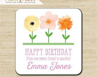GIRL GIFT STICKERS, Gift Tags, Birthday Stickers, Personalized Labels, Personalized Gift Stickers, Flowers, Eco Friendly Soy Printing