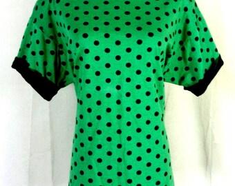 vtg 80s In Resource Green Black Polka Dot Oversized T-Shirt Sleeve Roll sz M