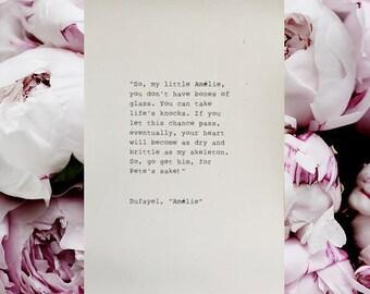 Amelie Typewriter Quote 4x6