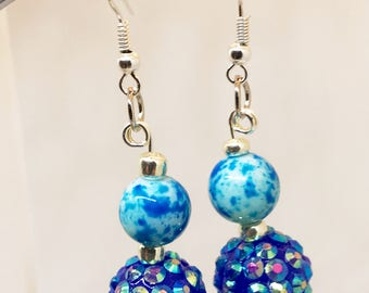 Gifts for Her, Fun, Blue and Sparkly Earrings