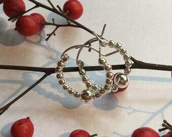 Hoops/beaded earrings/Sterling Silver/silver/beads/Sterling hoops/beaded hoops/tribal/silver hoops