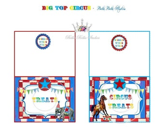 CIRCUS FOOD CARDS ~ Personalized Printable Download