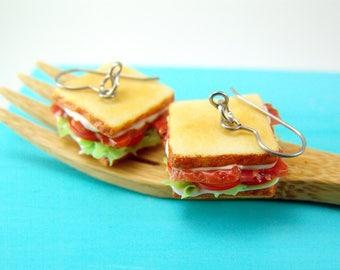 Sandwich Earrings // BLT Earrings // MADE to ORDER // Food Jewelry