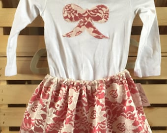 Girls Ivory Lace and Red Satin Skirt and Top Set, Bow Applique, Gift Set, Christmas Dress, Valentine Dress