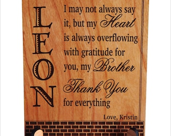 Brother Thank You Gift - Gifts for Brothers Personalized from Sister - Sibling Gifts - Plaque, PLB020