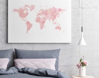 Pink World Map Canvas World Map, Nursery World Map, Pink Canvas Art, Pink Canvas Wall Art, Blush Wall Art, Blush Canvas Art