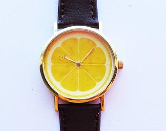 Lemon Slice Fruit Watch, Women Watches, Lemon Jewelry, Leather Watch, Lemon charm, Ladies Watch, Gold Silver watch, Yellow, Print, Quartz