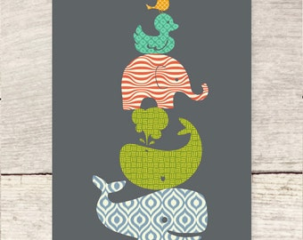 Patterned Nursery Animals flat note card