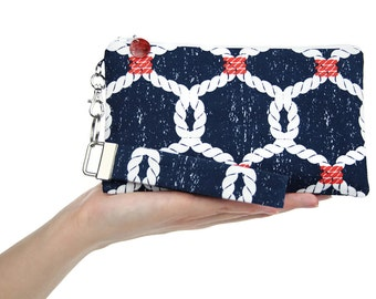 Navy nautical bag with sailors rope knots - handmade blue fabric clutch is a small purse for women