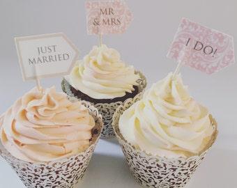 Toppers de cupcake de boda personalizados