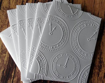 Embossed Clock Cards, Set of 5, White Embossed Cards, Blank Embossed Card Set, White Clock Cards, Time Note Cards, New Year's Card Set