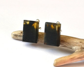 Amber Cufflinks \ Gift for Men \ Black Gold Baltic Amber Cufflinks / Amber for men