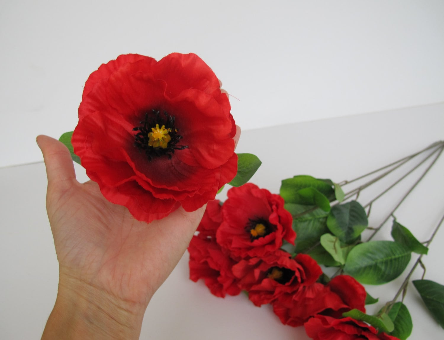 7 silk poppies artificial flowers big red with black yellow center 685 shipping mightylinksfo