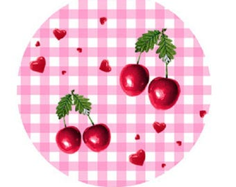 mini cabochon cherries and hearts, pink gingham, 18mm