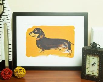 Dachshund Giclee Print (Orange) - by Brian Grimwood