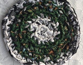 "Crocheted Rag Rug Trivet/ Forest Green Hot Pad/ Pot Holder/ 9.5 "" Coaster"