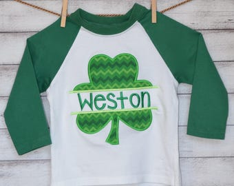 Personalized St. Patrick's Day Shamrock Applique Shirt or Bodysuit Girl or Boy
