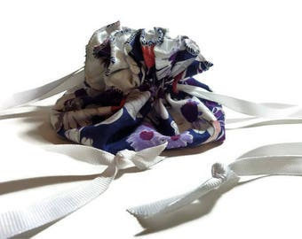 Travel Jewelry Pouch, Drawstring, Purple and Navy Multicolor Floral Print
