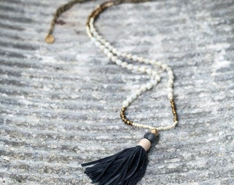 Tassel necklace. Seed bead necklace. Long necklace