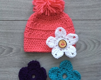 Ready to Ship - Crochet Papaya Grace Hat with PomPom & 3 Interchangeable Flowers - Newborn Size