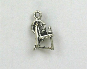 Sterling Silver 3-D Spinning Wheel Charm