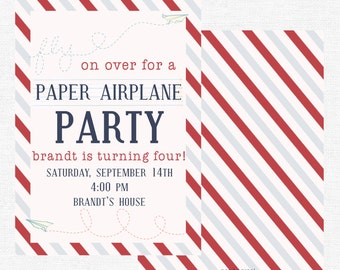 Paper Airplane Birthday Party Invitation | Fly On Over | Plane Party | Boy Birthday Invitation | Paper Plane-FREE SHIPPING or DIY printable