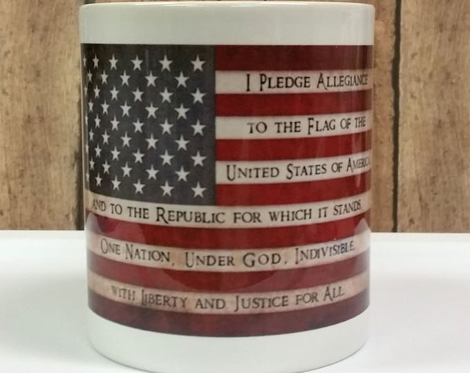 Pledge of Allegiance, American Flag, Mug, 11 oz Ceramic Mug, white, Patriotic