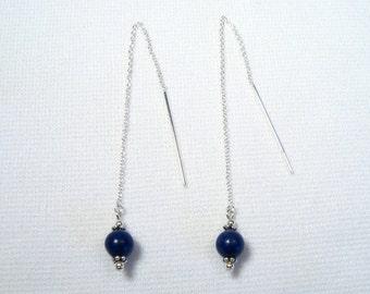 Lyn's Jewelry Lapis Threader Earrings Sterling Silver