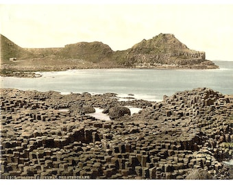 The Steuchans. Giant's Causeway. County Antrim, Ireland] 1890. Vintage photo postcard reprint 8x10-up. Northern Ireland County Antrim