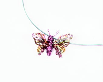 Purple butterfly necklace for girl, wire wrapped pendant, colorful, art, insect necklace tiny, modern boho, Spring, Summer, birthday gift