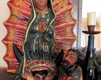 """Virgin Guadalupe Juan Diego Figurines Mexican Folk Art Carvings Guerrero XLG 24"""""""