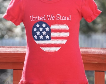 """Patriotic Flag Shirt, 4th of July shirt,  """"United We Stand"""""""