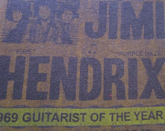 Jimi Hendrix Shirt. Vintage T-shirt. Graphic Tee. Top. Retro Gray. X-Large. Guitar Genius. Concert Ad Graphic. Festival Wear. Streetwear.