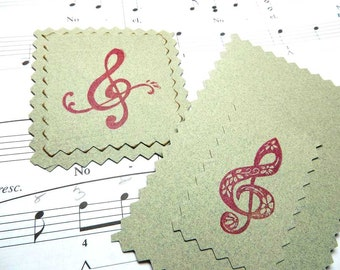 Fancy Treble Clef Rubber Stamps, Music Teacher Appreciation, Say 'Thanks' Fast  , Hand Carved, Music, Choice of Script or Floral, Hand Made