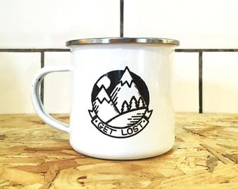 Camping enamel mug - Get Lost enamel mug - mountain mug - illustrated enamel mug - travel mug - gift for travellers - wanderlust - camping