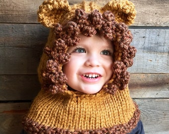 Kids Lion Hat, Animal Hood, Kids Fall Winter Hat, Lion Costume, Lion Hoodie, Knit Cowl Lion, Animal Hat with ears, Knitted Lion Hood, Unique