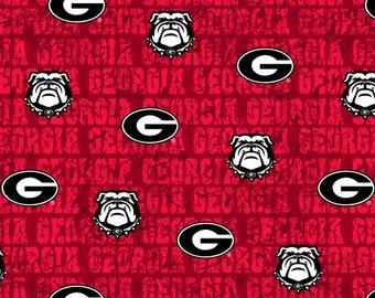 University Of Georgia Bulldogs UG Collegiate distressed Cotton Fabric 1 Yard Sports Team 100% Cotton