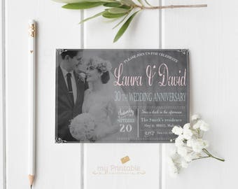 30th Wedding Anniversary Invitation / Digital Printable Invite / DIY Party