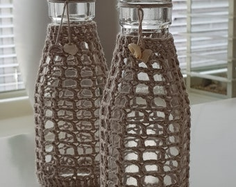 Crocheted Glass bottles with sea shells