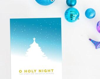 O Holy Night printable art | Christmas digital download | modern Christmas decor | Christmas carol print |  instant Christmas decor
