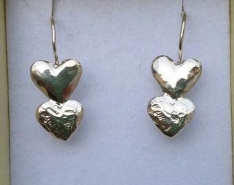 Heart Silver Earrings ,Sterling Silver Dangle Earrings ,Handmade Silver Earrings ,Girls Earrings ,Friendship Earrings , Summer Sale