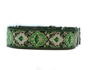 Wide 1 1/2 inch Adjustable Buckle or Martingale Dog Collar in Apex
