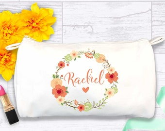 Floral Monogram Bridesmaid Makeup Bag | Lavender Name Cosmetic Bag | Mother of the Bride Personalized Zippered Bag | Flowers Coral Zip Bag