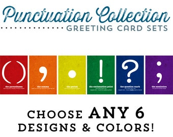 Punctuation Greeting Cards Set of 6 Cards Customizable Cards Comma Period Exclamation Question Semicolon Rainbow English Gifts Gag Gift